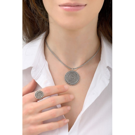 Collier pendentif glamour métal   argenté76211