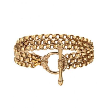 Glamorous triple row metal chain bracelet | gold-plated