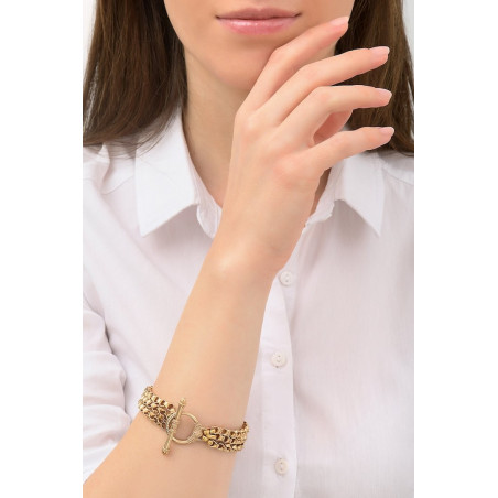 Glamorous triple row metal chain bracelet | gold-plated76237