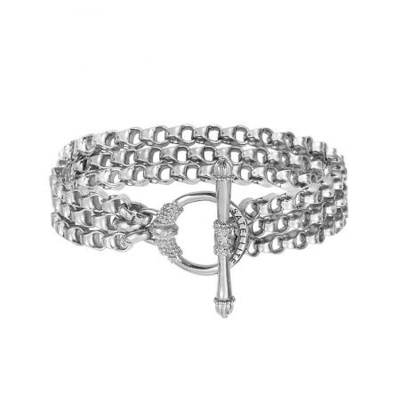 Refined triple row metal chain bracelet | silver-plated