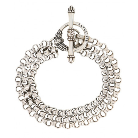 Refined triple row metal chain bracelet | silver-plated76239