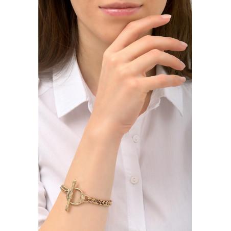 Bracelet chaîne gourmette fine métal I doré76243