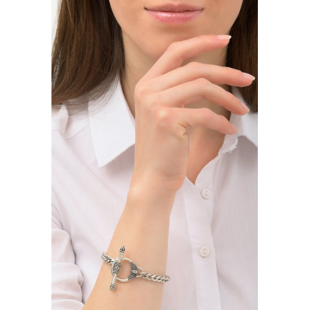 Chic metal curb chain bracelet I silver-plated76246