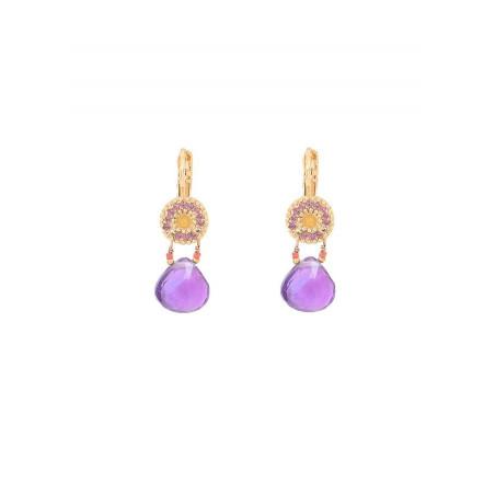 Boucles d'oreilles dormeuses mystérieuses jade et améthyste I violet