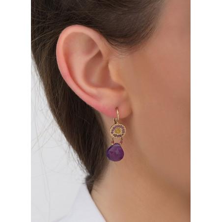 Boucles d'oreilles dormeuses mystérieuses jade et améthyste I violet83420