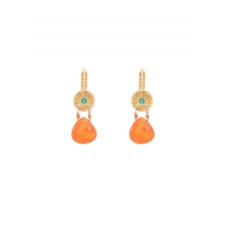 Boucles d'oreilles dormeuses glamour agate et cornaline I rouge
