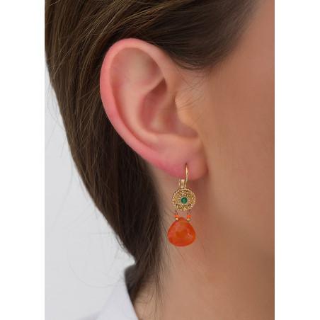 Boucles d'oreilles dormeuses glamour agate et cornaline I rouge83422