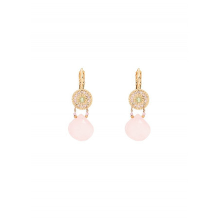 Boucles d'oreilles dormeuses romantiques péridot et quartz I rose