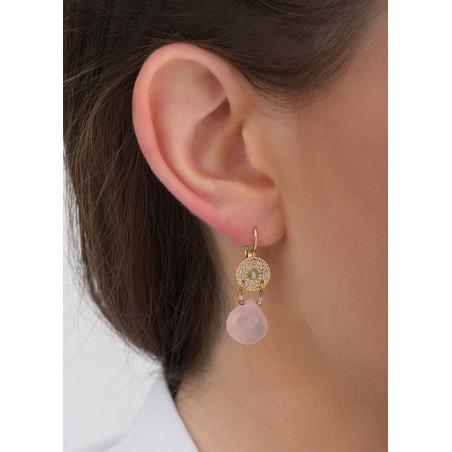 Boucles d'oreilles dormeuses romantiques péridot et quartz I rose83424