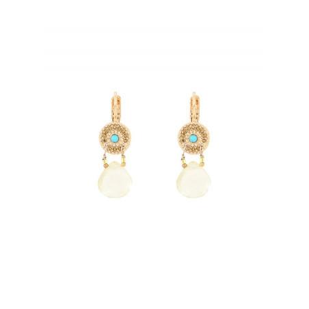 Sunny quartz and turquoise sleeper earrings I yellow