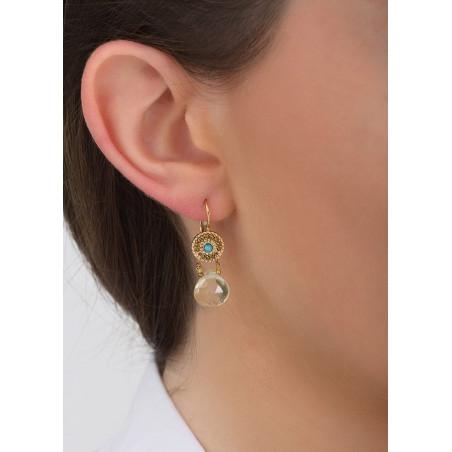 Sunny quartz and turquoise sleeper earrings I yellow83426