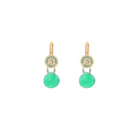 Boucles d'oreilles dormeuses sophistiquées hématite et onyx I vert