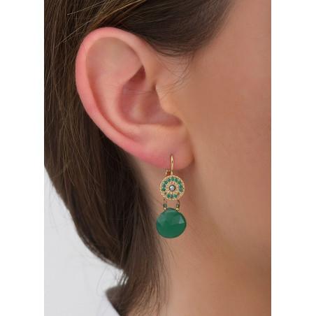 Boucles d'oreilles dormeuses sophistiquées hématite et onyx I vert83428