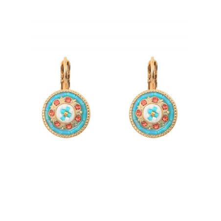Feminine sleeper earrings with crystal l Blue