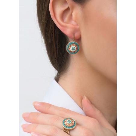 Feminine sleeper earrings with crystal l Blue83432