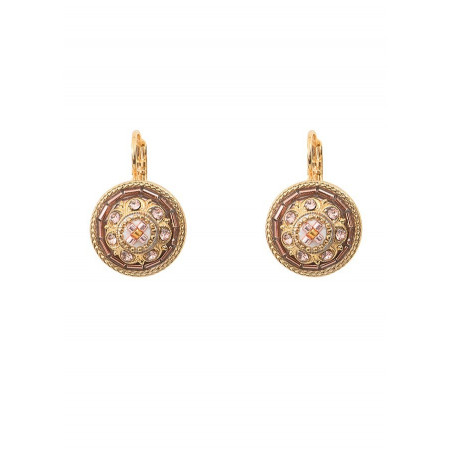 Romantic sleeper earrings with crystal l Pink