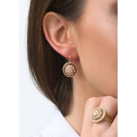 Romantic sleeper earrings with crystal l Pink83437