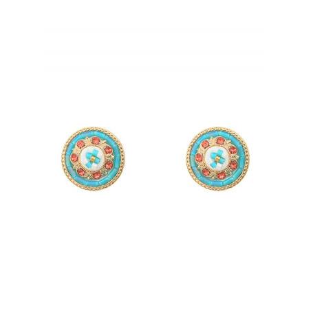 Feminine crystal earrings for pierced ears   Blue