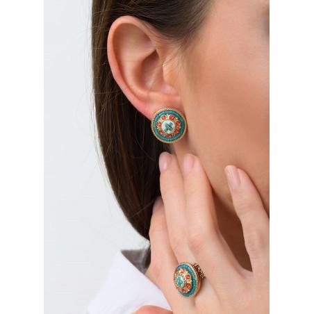 Feminine crystal earrings for pierced ears   Blue83442