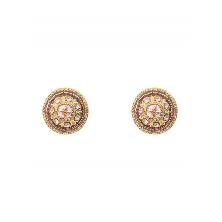 Romantic earrings for pierced ears with crystal l Pink
