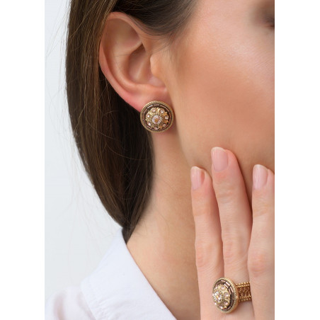 Romantic earrings for pierced ears with crystal l Pink83447