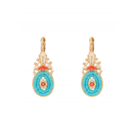 Baroque crystal sleeper earrings l Blue