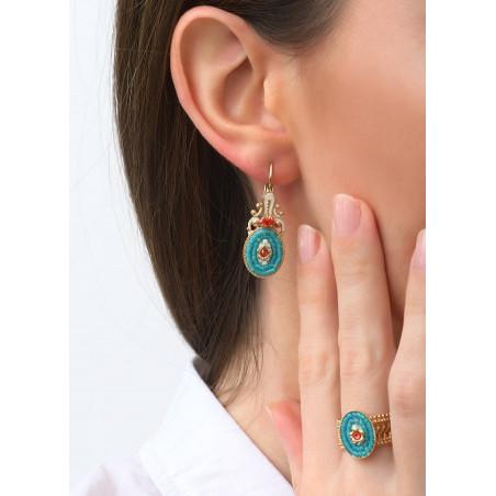 Baroque crystal sleeper earrings l Blue83452