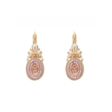 Poetic sleeper earrings with crystal l Pink