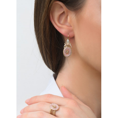 Poetic sleeper earrings with crystal l Pink83457