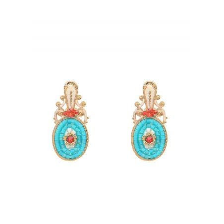 Baroque crystal earrings for pierced ears   Blue