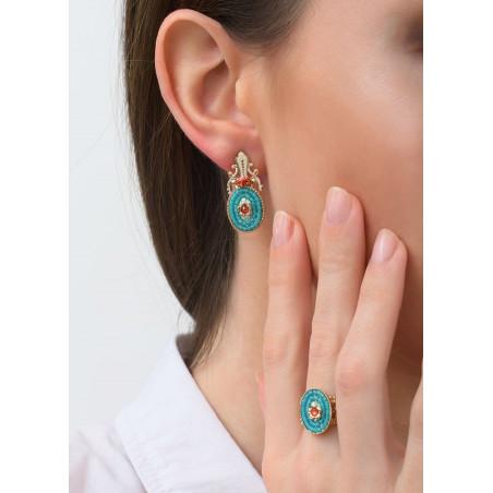 Baroque crystal earrings for pierced ears   Blue83462