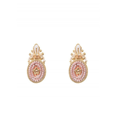 Poetic earrings for pierced ears with crystal l Pink