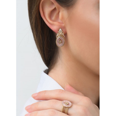 Poetic earrings for pierced ears with crystal l Pink83467