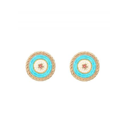Boucles d'oreilles clips voluptueuses cristal | bleu