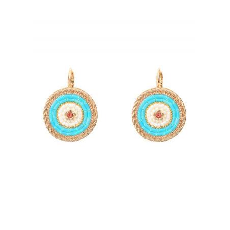 Voluptuous sleeper earrings with crystal | Blue