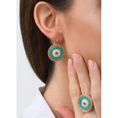 Voluptuous sleeper earrings with crystal | Blue83482