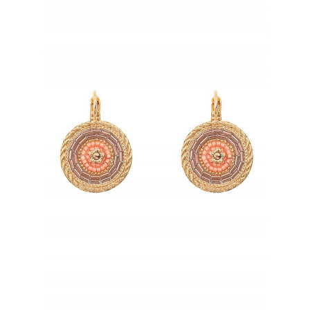 Refined sleeper earrings with crystal l Pink