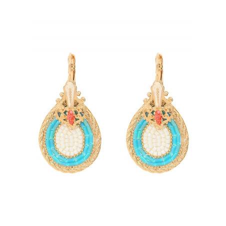 Drop sleeper earrings with crystal | Blue