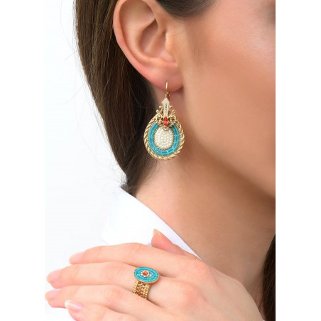 Drop sleeper earrings with crystal | Blue83492