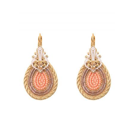 Boucles d'oreilles dormeuses glamour cristal | rose