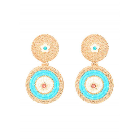 Summery clip-on earrings with crystals l Blue