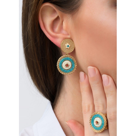 Summery clip-on earrings with crystals l Blue83512