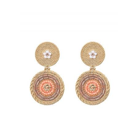 Boucles d'oreilles clips harmonieuses cristaux | rose