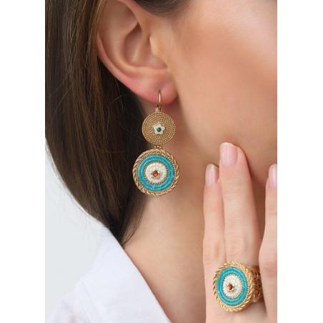 Boucles d'oreilles dormeuses estivales cristaux | bleu83522