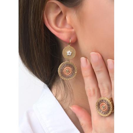 Boucles d'oreilles dormeuses harmonieuses cristaux | rose83527