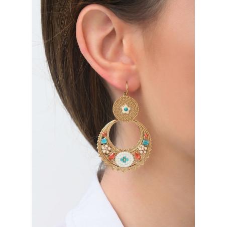 Boucles d'oreilles dormeuses graphiques cristal | bleu83532