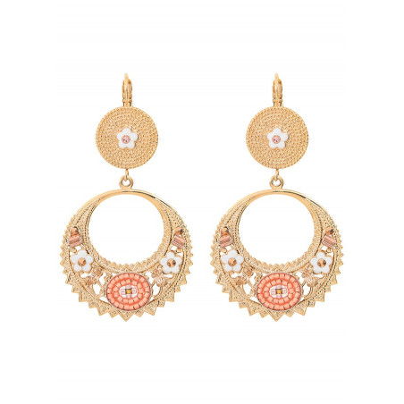 Sophisticated sleeper earrings with crystal l Pink