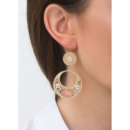 Sophisticated sleeper earrings with crystal l Pink83537