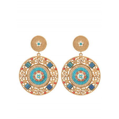 Precious clip-on earrings with Swarovksi crystals and beads | Blue