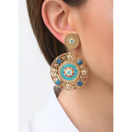 Precious clip-on earrings with Swarovksi crystals and beads | Blue83542